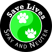 Save Lives Spay & Neuter Circle Magnet- Black/Green