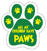 All My Children Have Paws Paw Print Magnet - Green/Yellow