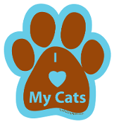 I Love My Cats Paw Print Magnet - brown/turquoise