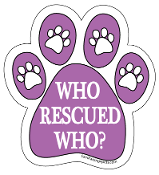 Who Rescued Who Paw Print Magnet - Purple *bargain bin*