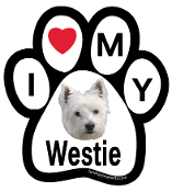 I Love My Westie Paw Print Magnet - NEW!