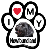I Love My Newfoundland Paw Print Magnet - NEW!