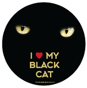 I Love My Black Cat circle magnet (eyes) - NEW!