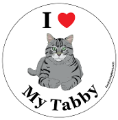 I Love My Tabby circle magnet (cartoon) - NEW!
