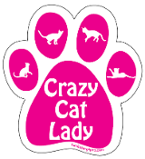 Crazy Cat Lady Paw Magnet - Hot Pink *bargain bin*