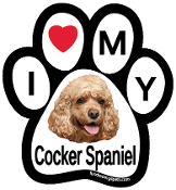 I Love My Cocker Spaniel Paw Magnet - NEW!