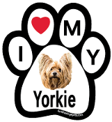 I Love My Yorkie Paw Print Magnet (long hair) - NEW!