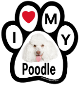 I Love My Poodle Paw Print Magnet (white) - NEW!