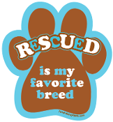 Rescued Is My Favorite Breed paw magnet - brown/turquoise