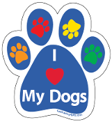 I Love My Dogs Paw Print Magnet - blue/multi *bargain bin*