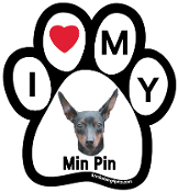 I Love My Min Pin Paw Print Magnet - NEW!