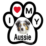 I Love My Aussie Paw Print Magnet - NEW!