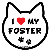 I Love My Foster cat head magnet - NEW!