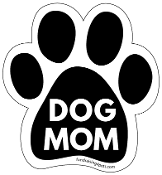 Dog Mom Paw Print Magnet - Black *bargain bin*