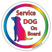 Service Dog On Board Circle Magnet - White * NEW!