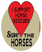 I Support Horse Rescues Save The Horses hoof magnet - red *NEW*