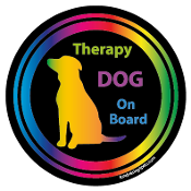 Therapy Dog On Board Circle Magnet - Black *bargain bin*