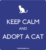Keep Calm and Adopt a Cat magnet - blue * NEW!
