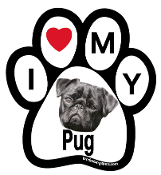 I Love My Pug Paw Print Magnet (black) - NEW!