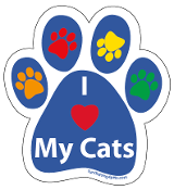 I Love My Cats paw magnet - blue/multi *bargain bin*