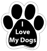 I Love My Dogs paw magnet - black *NEW*