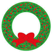 Christmas Holly Berry Wreath Circle Magnet - NEW!