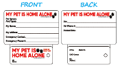 Emergency Info: MY PET IS HOME ALONE Key Tag & Wallet Card *NEW*