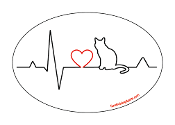 Heartbeat oval magnet - Cat *bargain bin*