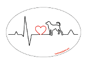 Heartbeat oval magnet - Dog *bargain bin*