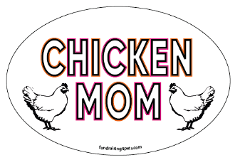 Chicken Mom oval magnet - NEW!
