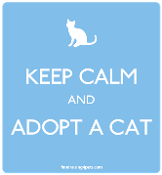 Keep Calm and Adopt a Cat magnet - light blue * NEW!