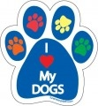 I Love My Dogs Paw Print Magnet