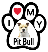 I Love My Pit Bull Paw Print Magnet - NEW!