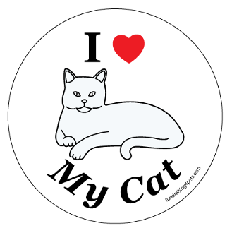 I Love My Cat Circle Magnet