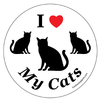 I Love My Cats Circle Magnet