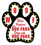What Happens at the Dog Park Paw Print Magnet