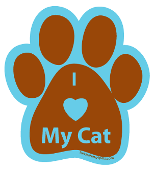 I Love My Cat Paw Print Magnet - brown/turquoise