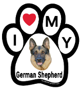 I Love My German Shepherd Paw Print Magnet (black & tan) - NEW!
