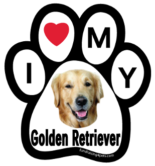 I Love My Golden Retriever Paw Print Magnet - NEW!