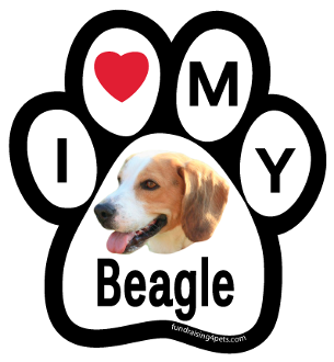 I Love My Beagle Paw Print Magnet - NEW!