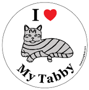 I Love My Tabby circle magnet (drawing) - NEW!