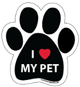 I Love My Pet Paw Print Magnet