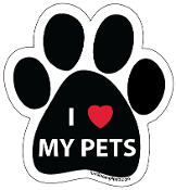 I Love My Pets Paw Print Magnet
