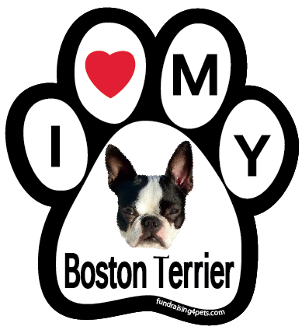 I Love My Boston Terrier Paw Print Magnet - NEW!