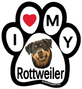 I Love My Rottweiler Paw Print Magnet - NEW!