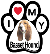 I Love My Basset Hound Paw Magnet - NEW!