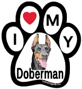 I Love My Doberman Paw Print Magnet - NEW!