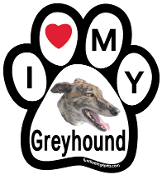 I Love My Greyhound Paw Print Magnet - NEW!