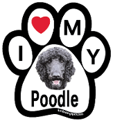 I Love My Poodle Paw Print Magnet (black) - NEW!