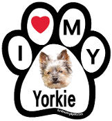 I Love My Yorkie Paw Print Magnet (short hair) - NEW!